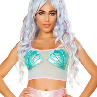 Mermaid Shell Mesh Crop Top