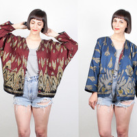 Vintage Reversible Jacket Burgundy Gold Blue Gold Painted Ethnic Bomber Jacket 80s Batwing Sleeves Boho Hippie Jacket Coat S Small M Medium