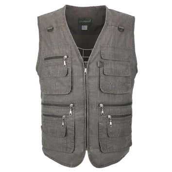 Linen Vest Male Summer Breathable Travel Vests With Many Pockets Men's Spring Autumn Sleeveless Jacket	 Large Sizes 6 7 8 9 10XL
