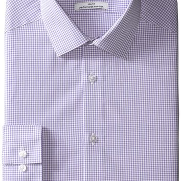 Calvin Klein Mens Dress Shirts Non Iron Slim Fit Gingham Spread Collar