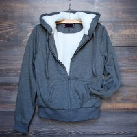 fur lined hooded fleece jacket with zipper grey