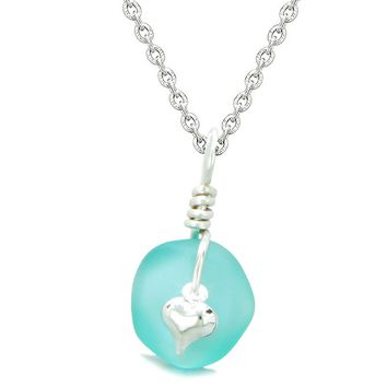 Twisted Twincies Heart Small Frosted Sea Glass Lucky Charms Handcrafted Aqua Blue 18 Inch Necklace