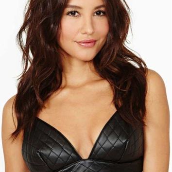 Nasty Gal Ryder Faux Leather Bustier Bra