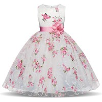 Baby Girl Dress 2018 Summer Children Sleeveless Floral Dresses With Flower Sash Kids Princess Costume School Clothing For Girls