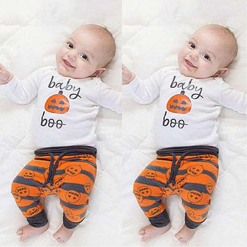 3 pcs a suit of New unisex baby clothing baby Halloween Christmas Costume set baby pumpkin cute baby Clothing