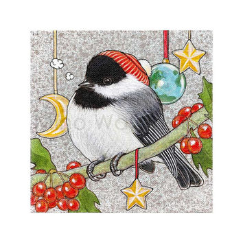 Chickadee 2 - Winter Bird Series Illustration - Winter, Holiday, Christmas Theme - Birds Art - 8 x 8 Print - Fine Art Print - Wall Art