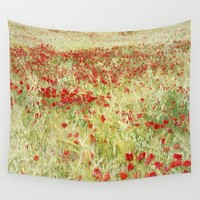 """Abstract poppies"" Wall Tapestry by Guido Montañés"