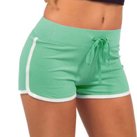 Womens Spring Green and White Casual Sport Shorts