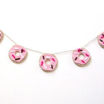 Mini Donut Desk Banner Do Nut Felt Wall Banner With Pink Frosting And Fuchsia White And Brown Sprinkles