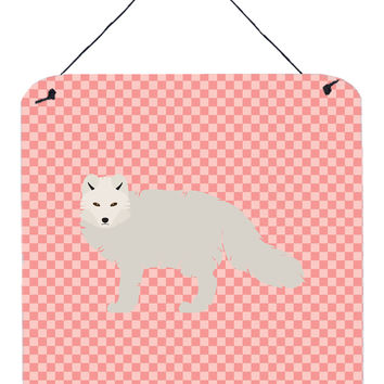 White Arctic Fox Pink Check Wall or Door Hanging Prints BB7877DS66