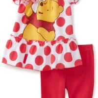 Disney Baby-Girls Infant Winnie Polka Dot Ruffle Shirt And Pant Set