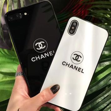Chanel Trending Women Men Logo Simple Glass Shell Black White iPhone Case Full Bag Edge For iPhone8 X iPhone7