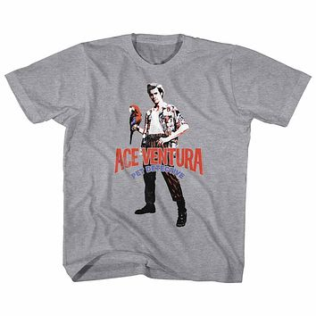Ace Ventura Toddler T-Shirt Pet Detective Pose With Macaw Gray Tee