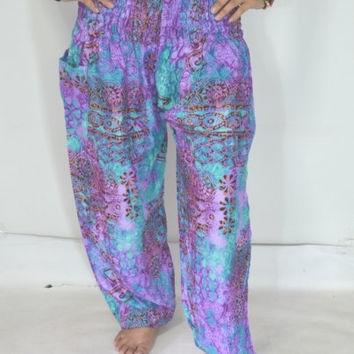 Long Yoga Purple blue stripes Pants/Harem Boho Pants/Print design/Drawstring elastic waist/Comfortable wear fit most/Thai clothing.