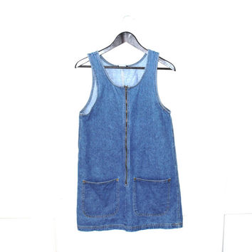 DENIM mini dress 90s zip up mod overall romper vintage JEAN dress