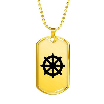 Dharma Wheel - 18k Gold Finished Luxury Dog Tag Necklace