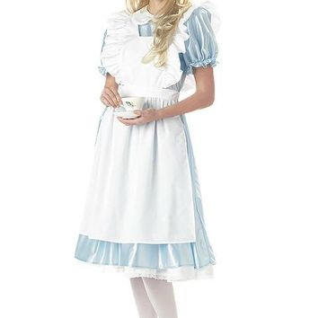 Alice Dress With Apron Costume (X-Large,White/Blue)