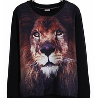 Black Round Neck Lion Print Sweatshirt S166
