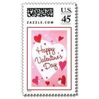 """Happy Valentines Day"" Hearts Stamps from Zazzle.com"