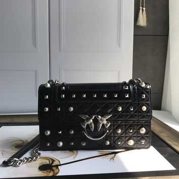 Kuyou Gb69729 Pinko Women¡¯s Love Bag Idillio In Leather With Studs And Pearls Black Clutch Bag 27-18-8cm