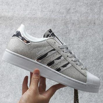 CREYNW6 Originals Adidas Superstar W Men's Women's Shiny Shell-toe Classic Sneaker Sprot Shoes Silver - S41838