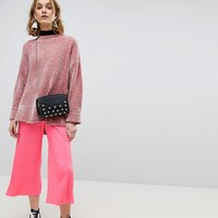 ASOS Plisse Culotte Trousers in Bright Pink at asos.com