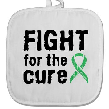Fight for the Cure - Light Green Ribbon Celiac Disease White Fabric Pot Holder Hot Pad