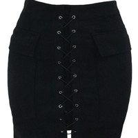 Black Suede Pocket Lace Up Front Mini Skirt