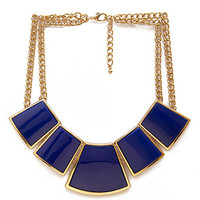FOREVER 21 Geo Bib Necklace Blue/Gold One