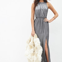 LOVE 21 Metallic Knit Maxi Dress Black/Silver