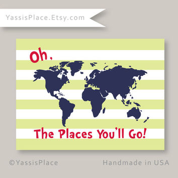 CANVAS Wall Art, Oh, the Places You'll Go Map, Dr. Seuss Kids Wall Art, Green, Navy, Red, Playroom art 16x20, stripes