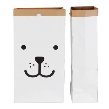Canvas Storage Bag Large Cartoon Heavy Kraft Paper Bag Children Room Organizer Bag Patterns Laundry Pouch for Baby Toy Clothings