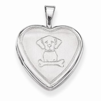 Sterling Silver Dog with Bone Heart Locket