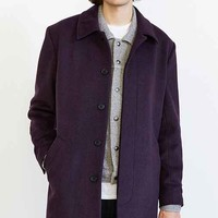 Shades Of Grey By Micah Cohen Wool Belted Long Topcoat- Plum