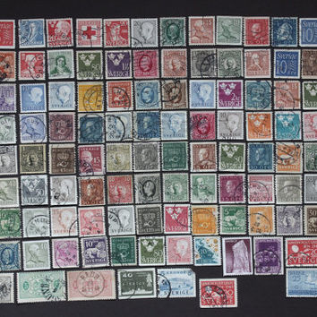 119 Sweden Stamp Collection, Vintage European World Post Postage Rare Swedish Scandinavian Stamps