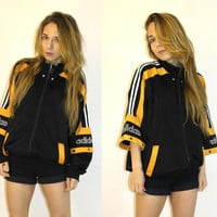 Vintage Adidas tracksuit top / Adidas Sport Jacket / Adidas Vintage Activewear / Black Orange Adidas / Removable Detachable sleeves Adidas
