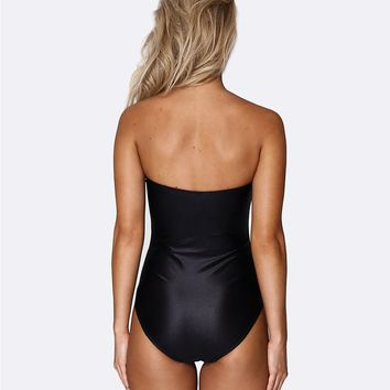 Allerton Lace up Deep Plunge One Piece - Midnight