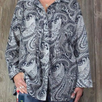 Talbots 1x size Blouse Navy Blue White Paisley Womens Plus Top Lightweight