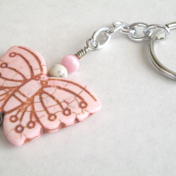 Handmade Pink Stone Butterfly Keychain , Ladies Magnesite Pink Cat's Eye Key Chain Ring , Hippie Key Ring , Insects Nature Accessories Gifts