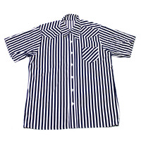 Vintage Navy Blue Striped Button Up Shirt Mens Size Large