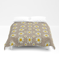 Star fall of fantasy flowers on pearl lace Duvet Cover by Pepita Selles