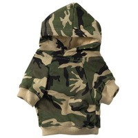 """Casual Canine Camo Hoodie for Dogs, 13"""" Medium, Green"""