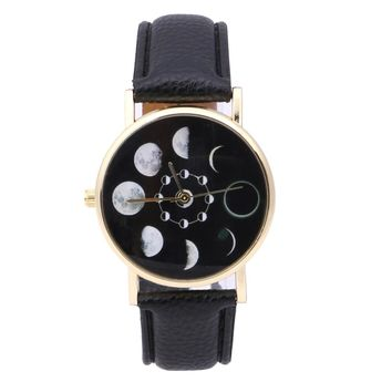 Moon Phase Lunar Eclipse Women Watches Leather Bracelet Dress Watch Women Solar Watch reloj mujer montre femme saat