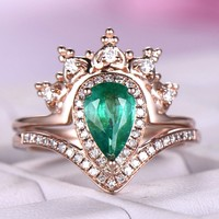 Pear Emerald Engagement Ring Sets Moissanite Band 14K Rose Gold 5x8mm