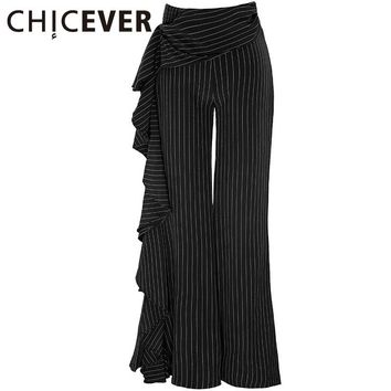 Striped Flare Trousers For Women Bell Bottom Female Pants High Waist Ruffle Casual Clothes Summer