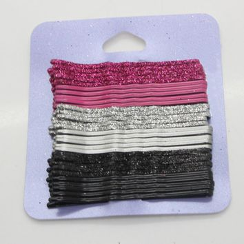 30pcs/lot 6.5cm Hair Clips for Women red sliver and black Bobby Pins Invisible Curly Wavy Grips Salon Barrette Hairpin headwear