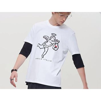 FILA FUSION 2019 new new casual trend round neck fashion half-sleeved shirt white