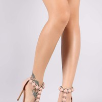Liliana Patent Bullet And Button T-Strap Stiletto Heel