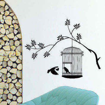 WALL DECAL VINYL STICKER ANIMAL BIRD CAGE BIRDCAGE DECOR SB573