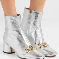 Marc Jacobs - Remi chain-trimmed metallic leather ankle boots